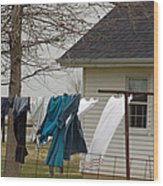 Amish Washday - Allen County Indiana Wood Print
