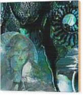 Ammonite Seascape Wood Print