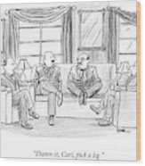 Among Three Other Men With Their Legs Crossed Wood Print