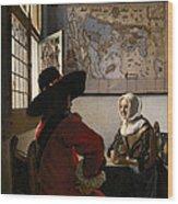 Amorous Couple Wood Print by Jan Vermeer