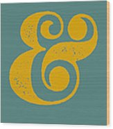 Ampersand Poster Blue And Yellow Wood Print