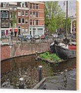 Amstel River Waterfront In Amsterdam Wood Print
