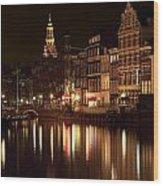 Amsterdam At Night Wood Print