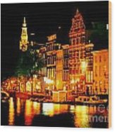 Amsterdam At Night Four Wood Print