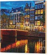 Amsterdam At Night Iv Wood Print