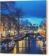 Amsterdam At Night V Wood Print