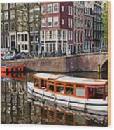 Amsterdam Canal And Houses Wood Print
