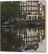 Amsterdam Canal Houses In The Rain Wood Print