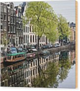 Amsterdam Canal In Spring Wood Print