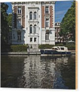 Amsterdam Canal Mansions - Bright White Symmetry  Wood Print