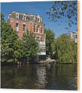 Amsterdam Canal Mansions - Floating By Wood Print