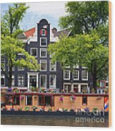 Amsterdam Canal With Houseboat Wood Print