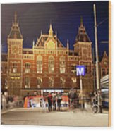 Amsterdam Central Station And Metro Entrance Wood Print