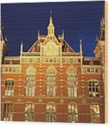 Amsterdam Central Train Station At Night Wood Print