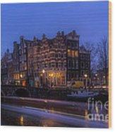 Amsterdam Corner Cafe With Light Trails Wood Print