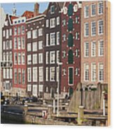 Amsterdam Houses Ar Sunset Wood Print
