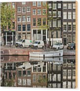 Amsterdam Houses By The Singel Canal Wood Print