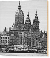 Amsterdam In Black And White Wood Print