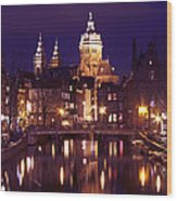 Amsterdam In The Netherlands By Night Wood Print