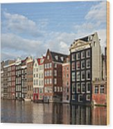 Amsterdam Old Town At Sunset Wood Print