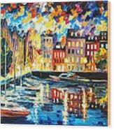 Amsterdam's Harbor - Palette Knife Oil Painting On Canvas By Leonid Afremov Wood Print