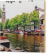 Amsterdams Westerkerk From The Canal  Wood Print