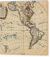 Amtique Map Americas Wood Print