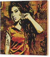 Amy Winehouse 24x36 Mm Reg Wood Print by Dancin Artworks