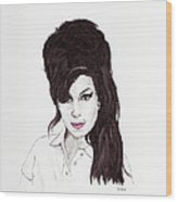 Amy Winehouse Wood Print by Martin Howard
