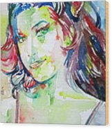 Amy Winehouse Watercolor Portrait.1 Wood Print