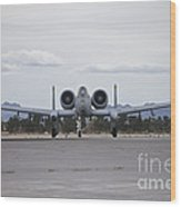 An A-10 Thunderbolt Taxis To The Runway Wood Print