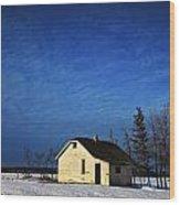 An Abandoned Homestead On A Snow Wood Print