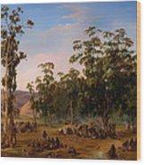 An Aboriginal Encampment Near The Adelaide Foothills Wood Print