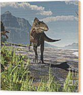 An Acrocanthosaurus Roams An Early Wood Print by Arthur Dorety