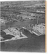 An Aerial View Of Ellis Island Wood Print