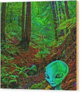 An Alien In A Cosmic Forest Of Time Wood Print