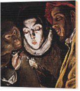 An Allegory With A Boy Lighting A Candle In The Company Of An Ape And A Fool Wood Print