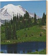 An Alpine Lake Foreground Mt Rainer Wood Print