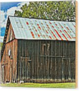An American Barn 2 Oil Wood Print