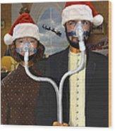 An American Gothic Sleep Apnea Merry Christmas Wood Print by Mike McGlothlen