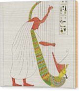 An Ancient Egyptian Priest Plays An Wood Print