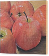 An Apple A Day Wood Print by Joanne Grant