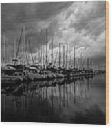 An Approaching Storm - Black And White Wood Print