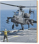 An Army Ah-64d Apache Helicopter Wood Print