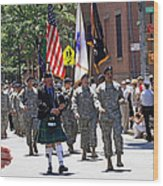 An Army Battalion Marching In The 200th Anniversary St. Patrick Old Cathedral Parade Wood Print