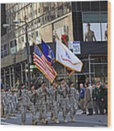 An Army Outfit Marching In The 2009 New York St. Patrick Day Parade Wood Print