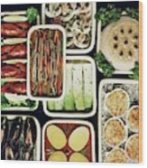 An Assortment Of Food In Containers Wood Print