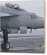 An Aviation Boatswains Mate Prepares An Wood Print
