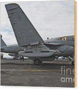 An Ea-6b Prowler Prepares To Launch Wood Print