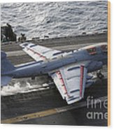 An Ea-6b Prowler Takes Wood Print by Stocktrek Images
